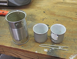 DIY coffee pot from soup can.