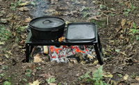 Open fire grill cooking