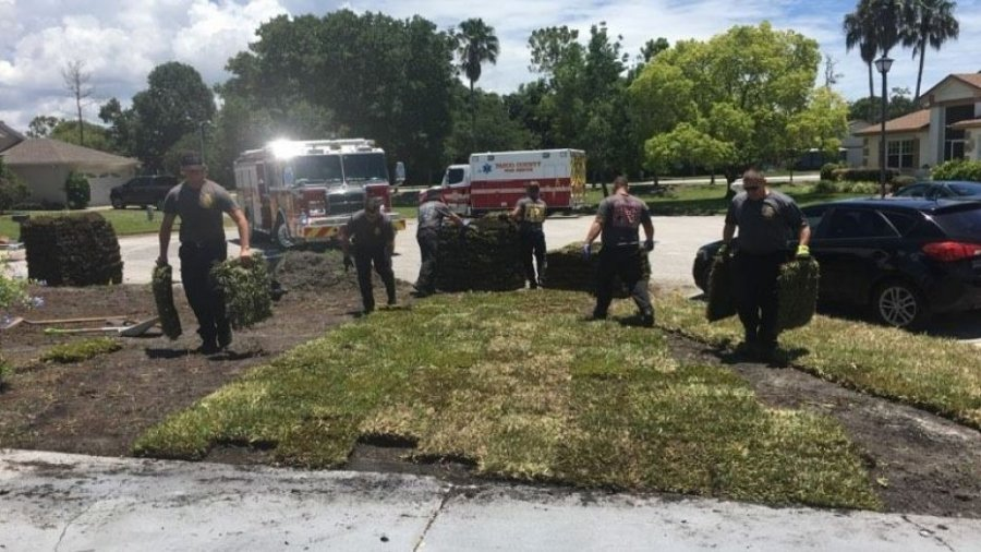 Florida firefighters help save man after heart attack, then finish his lawn work