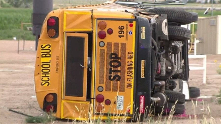 At least 29 hurt in Colorado after sleepy truck driver runs school bus off the road, police say