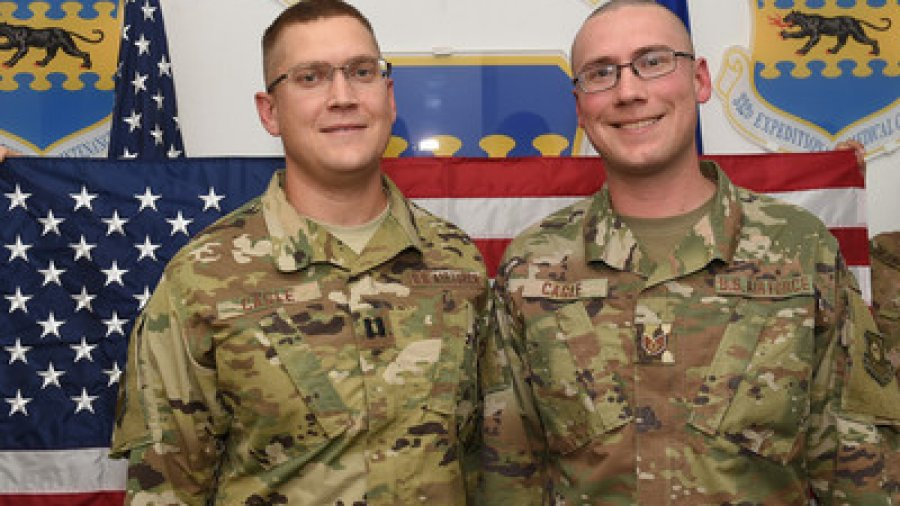 Face of Defense: Deployed Brothers Reunite at Reenlistment Ceremony