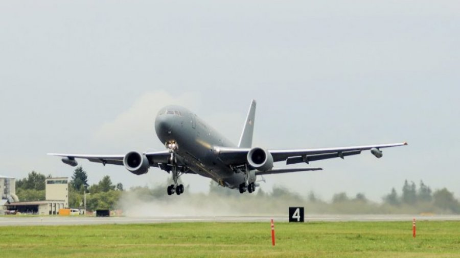 Boeing's new aerial refueler stops at Yokota after maiden trans-Pacific flight