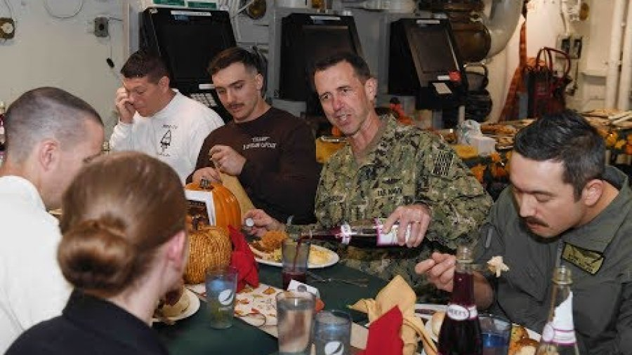 CNO and MCPON celebrate Thanksgiving aboard USS Harry S. Truman