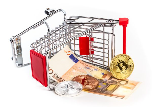 Currency Collapse and fifty euro banknote in overturned shopping cart