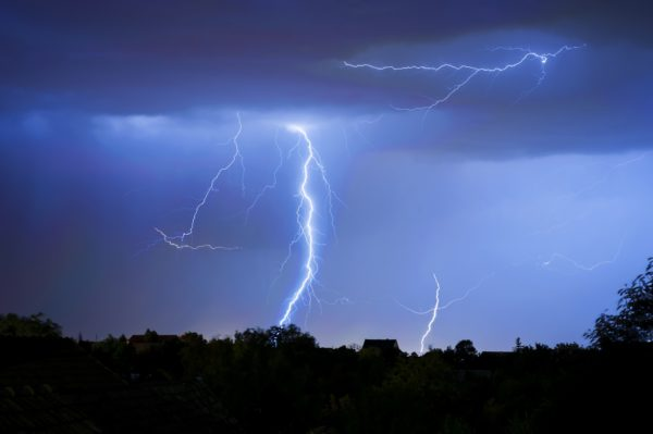 Number of Lightnings in Dark, Stormy Night, Summer Storm