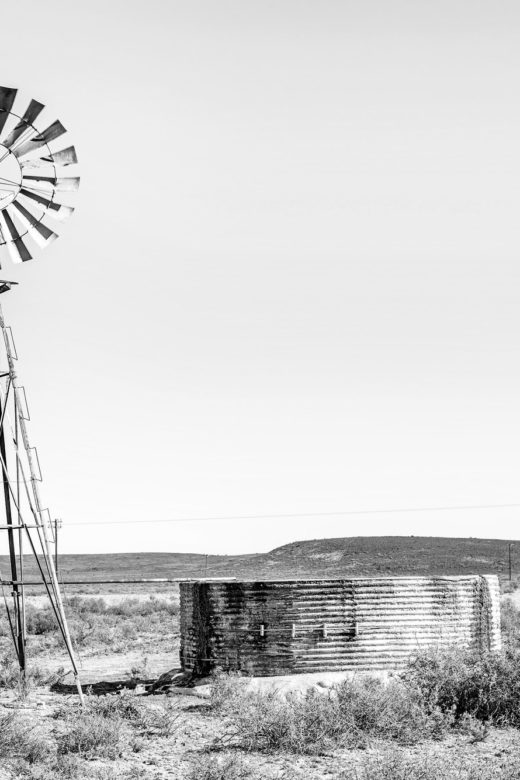 Rural monochrome Karoo scene