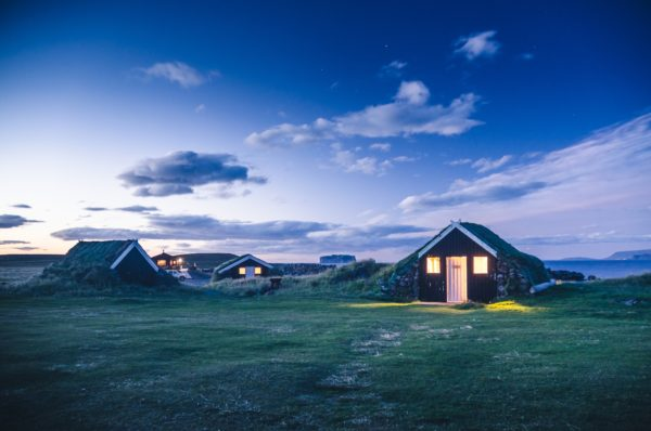 traditional Iceland dwelling in the night